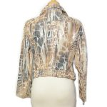 Back view of on sale pre-owned Cappopera Jeans Shiny Printed Jacket in animal print, with zipper on the cuffs.