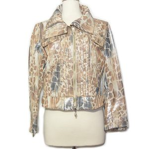 On sale pre-owned Cappopera Jeans Shiny Printed Jacket in animal print, with front double zipper and silver tone hardware.
