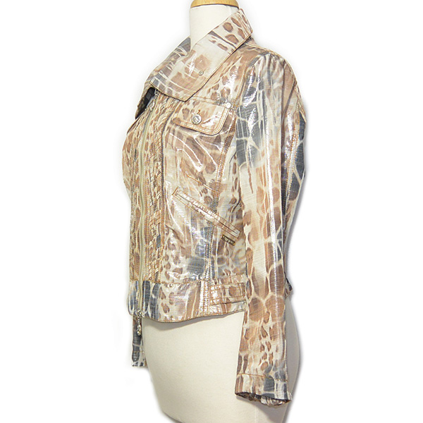 Side view of on sale pre-owned Cappopera Jeans Shiny Printed Jacket in animal print, with two hidden and flap pockets.