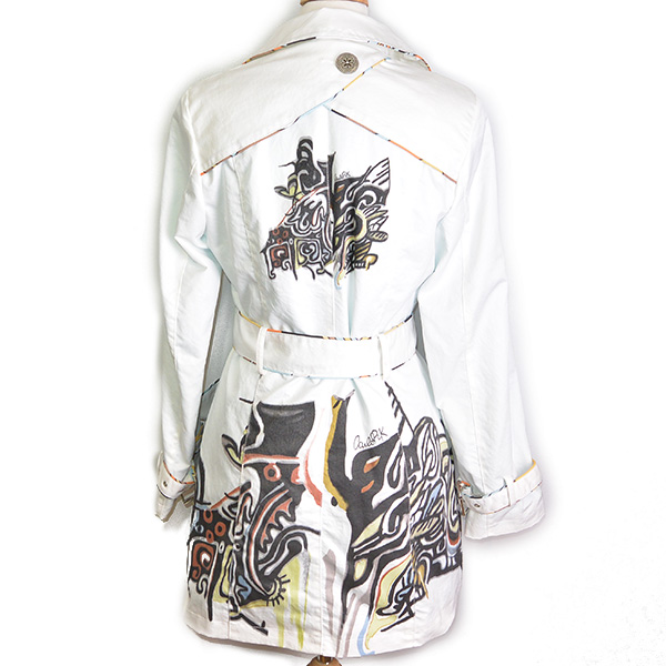 Back view of pre-owned Carlopik Graphic Printed Trench Coat, with belt.