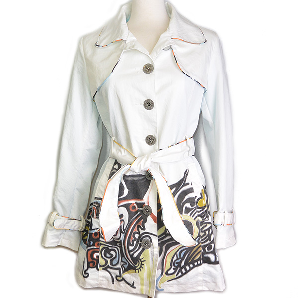 Pre-owned Carlopik Graphic Printed Trench Coat, with belt and buttons.