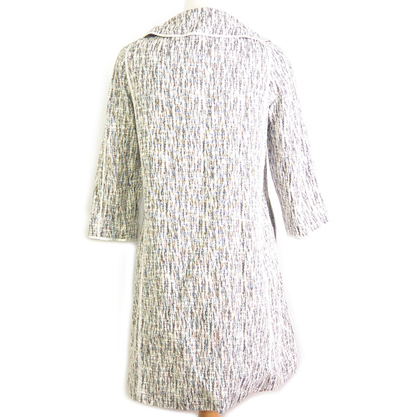 Back view of on sale pre-owned Cynthia Steffe Printed Light Coat in black and white, with round collar.