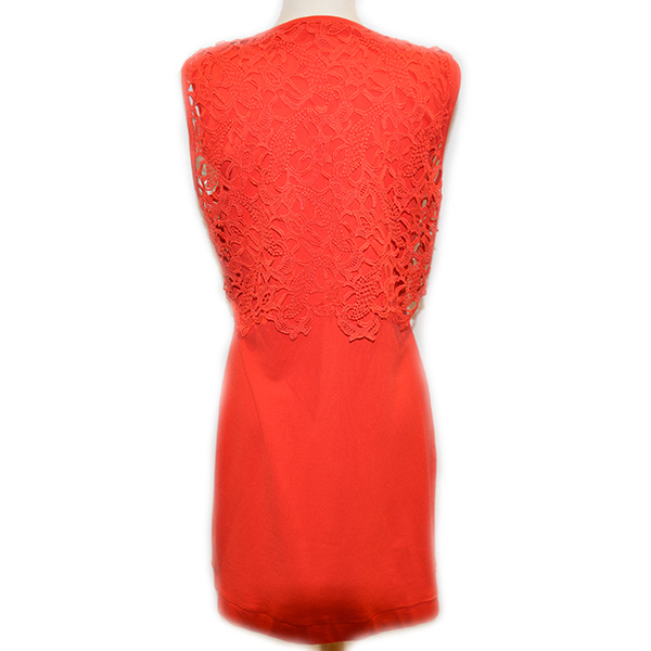 Back view of on sale pre-owned sleeveless Luisa Cerano knee length fitted dress with lace detail, in red.