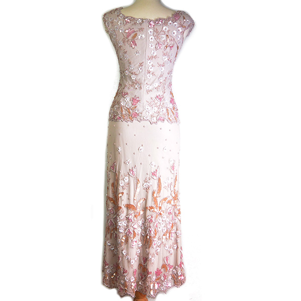 Back view of on sale pre-owned Frank Usher 3-piece evening dress, with see-through beaded top layer and embellishment details.