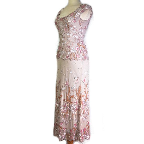 Side view of on sale pre-owned Frank Usher 3-piece evening dress, with see-through beaded top layer and embellishment details.