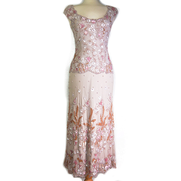 On sale pre-owned Frank Usher 3-piece evening dress, with see-through beaded top layer and embellishment details.