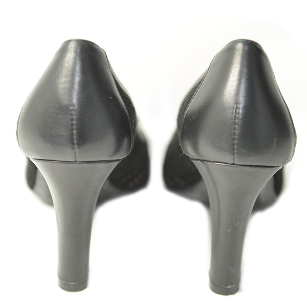 Back view of on sale pre-owned black, slip-on style Geox Leather Mesh Pumps, with bow detail.