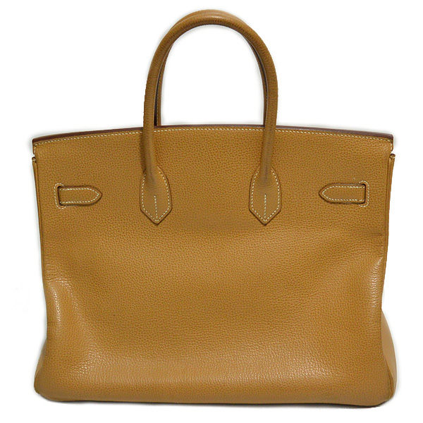 Back view of pre-owned Hermes Paris Birkin Clemence 35 Bag in tan, with palladium-plated hardware.