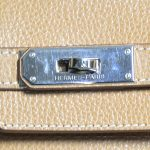 Close up details of pre-owned Hermes Paris Birkin Clemence 35 Bag.