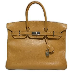 Pre-owned Hermes Paris Birkin Clemence 35 Bag in tan, with palladium-plated hardware.