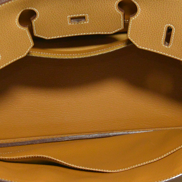 Interior of pre-owned Hermes Paris Birkin Clemence 35 Bag.