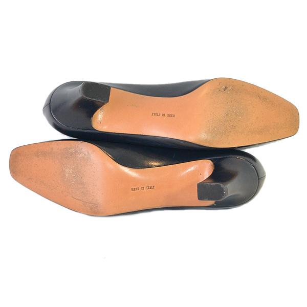 Soles of on sale pre-owned Salvatore Ferragamo Vintage Squared Toe Block Heels.