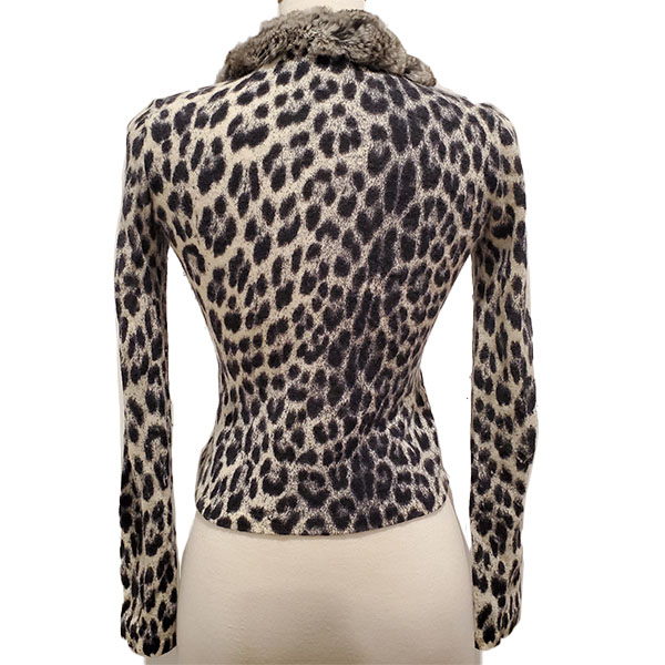Back view of pre-owned Blumarine Animal Print Sweater, with fur collar.