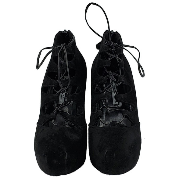 Front view of pre-owned Brian Atwood Lace-up Suede Booties in black.