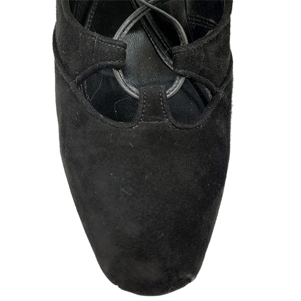 Top view of pre-owned Brian Atwood Lace-up Suede Booties in black.