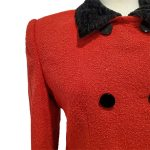 Close up of details of pre-owned Come Gilda Skirt Suit in red, with black collar and buttons.