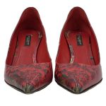 Front view of pre-owned Dolce & Gabbana Patent Leather Floral Pumps in red, with pointed toe.