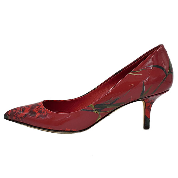 Pre-owned Dolce & Gabbana Patent Leather Floral Pumps in red, with pointed toe.