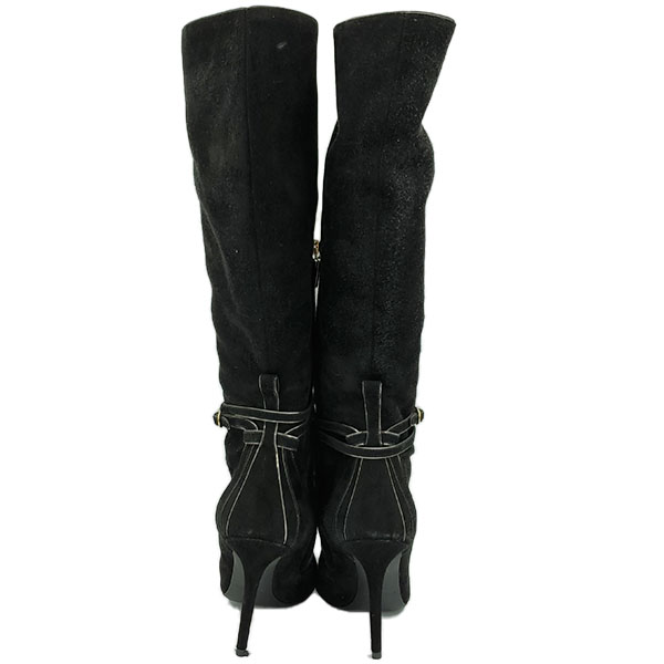 Back view of on sale pre-owned black Dolce & Gabbana Suede Knee-high boots, with gold tone hardware and skinny heels.