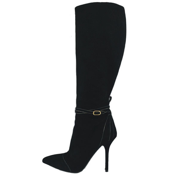 On sale pre-owned black Dolce & Gabbana Suede Knee-high boots, with gold tone hardware and skinny heels.