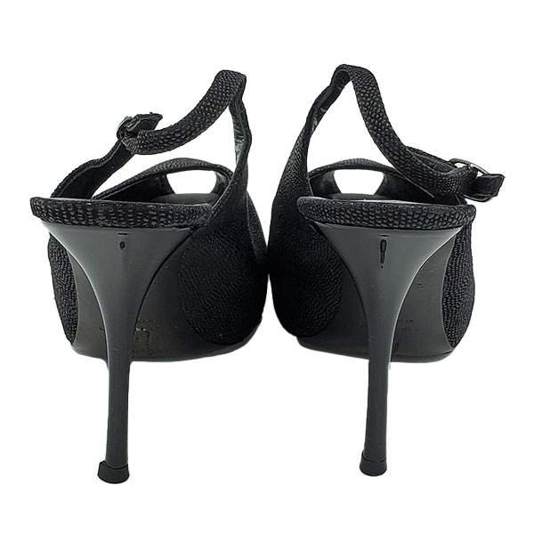 Back view of on sale pre-owned black Guiseppe Zanotti Glitter Peep-toe Heels, with adjustable strap.