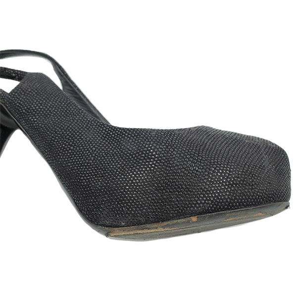 Close up front view of on sale pre-owned black Guiseppe Zanotti Glitter Peep-toe Heels, with adjustable strap.