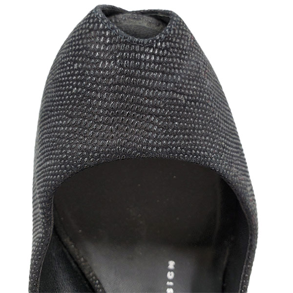Close up front view of on sale pre-owned black Guiseppe Zanotti Glitter Peep-toe Heels.