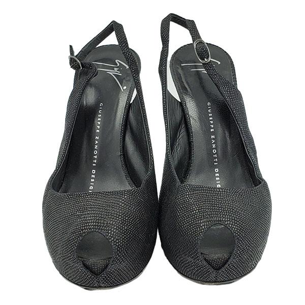 On sale pre-owned black Guiseppe Zanotti Glitter Peep-toe Heels, with adjustable strap.