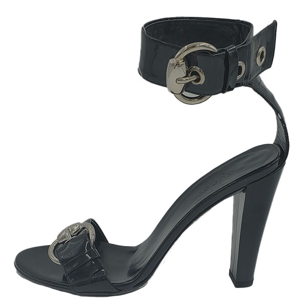 Pre-owned Gucci Patent Leather Strappy Sandals in black, with adjustable buckles.