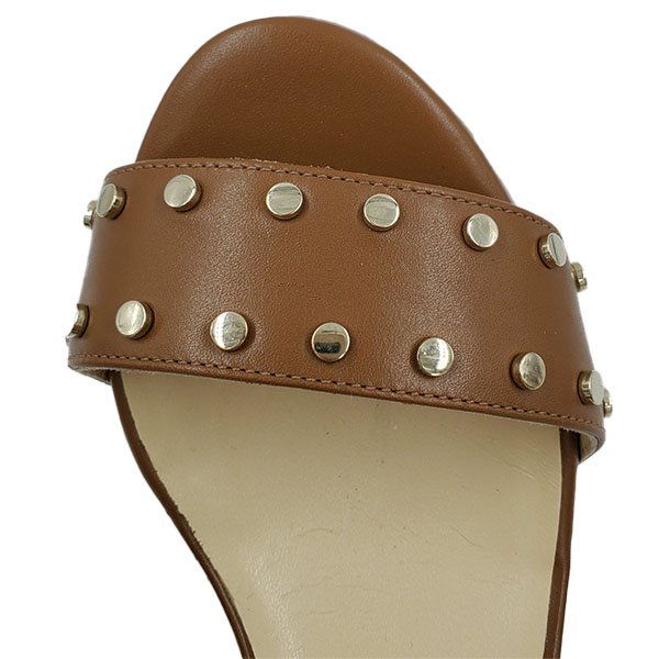 Top view of on sale pre-owned Jimmy Choo Leather Wedge Sandals in tan leather, with gold-tone studs.