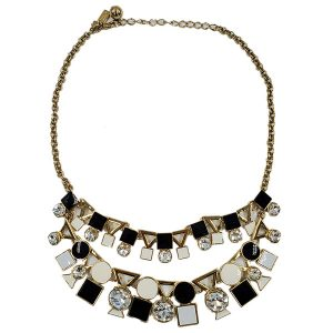 Pre-owned Kate Spade Geometric Shape Statement Necklace, with black, white and jeweled details.