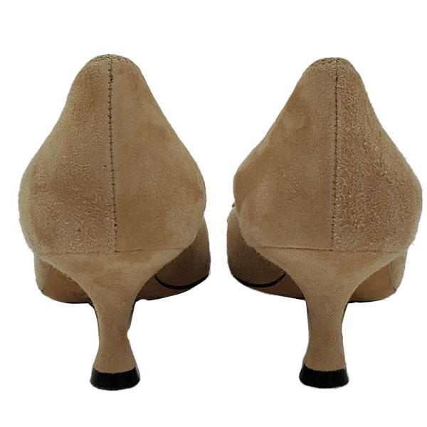 Back view of pre-owned Manolo Blahnik Suede Kitty Heels in beige.