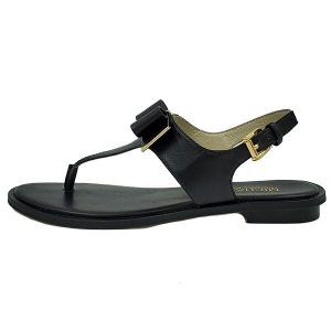 Pre-owned Michael Kors Kiera Thong Sandals in black, with gold-tone hardware.
