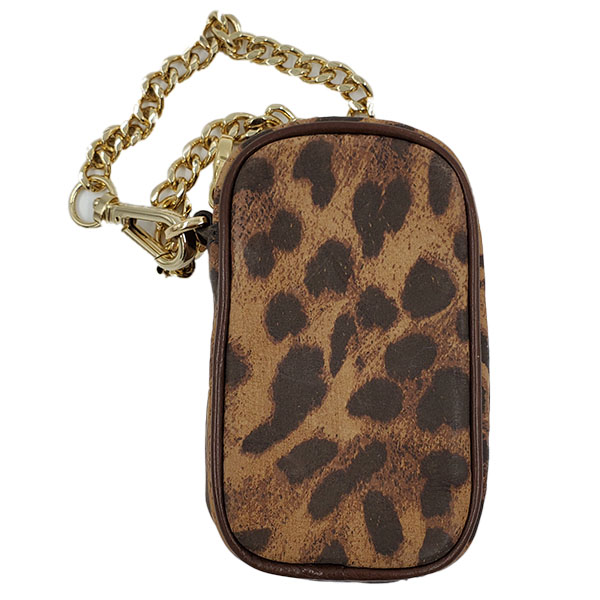 Back view of pre-owned Michael Kors Leather Cellphone Wristlet in leopard print, with gold-tone hardware.