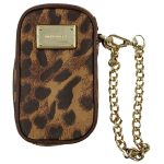 Pre-owned Michael Kors Leather Cellphone Wristlet in leopard print, with gold-tone hardware.