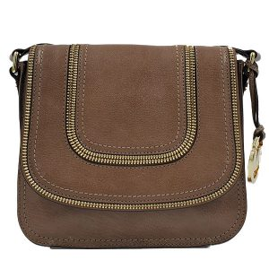 Pre-owned Michael Kors Leather Shoulder Bag in brown, with zipper accents in front.
