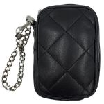 Back view of pre-owned Michael Kors Quilted Leather Cellphone Wristlet in black, with silver-tone hardware..