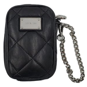 Pre-owned Michael Kors Quilted Leather Cellphone Wristlet in black, with silver-tone hardware.