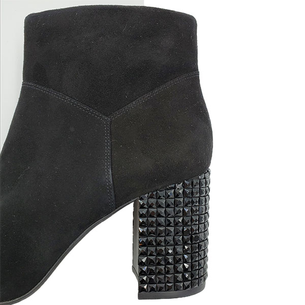 Close up back view of on sale pre-owned Michael Kors Suede Leather Booties, with embellishment block heels.
