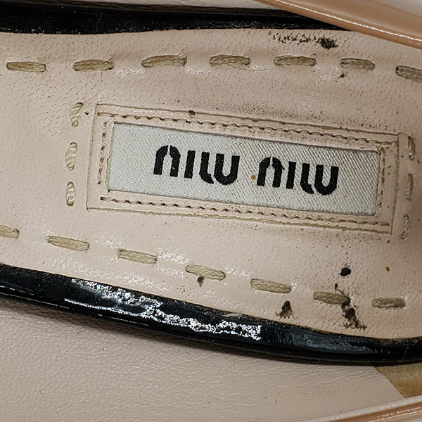 Logo of on sale pre-owned Miu Miu Shiny Leather Colour-Block Pumps.