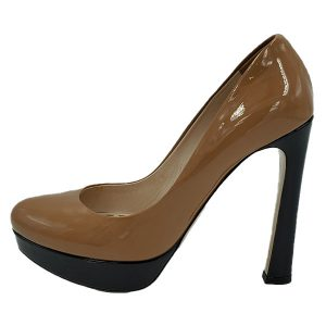 On sale pre-owned Miu Miu Shiny Leather Colour-Block Pumps, in black and tan.