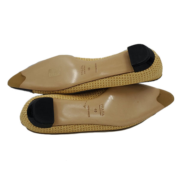 Soles of on sale pre-owned Prada Pointed Toe Bow-tie Flats.