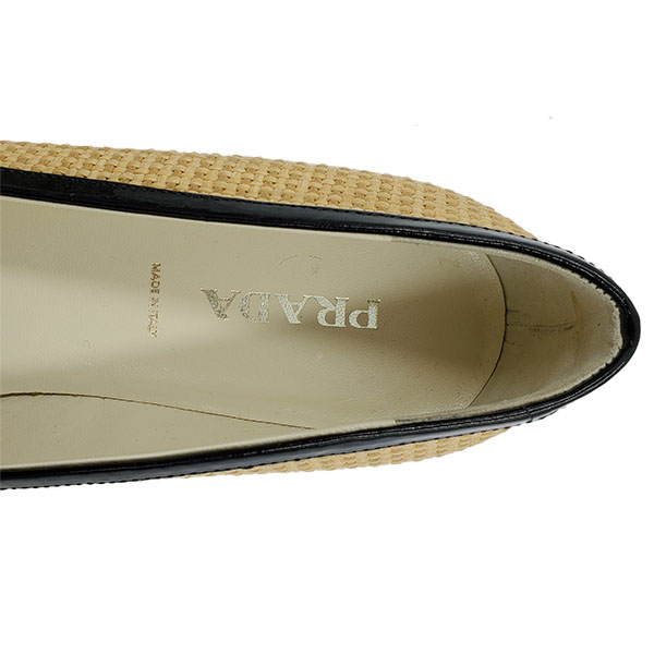 Logo of on sale pre-owned Prada Pointed Toe Bow-tie Flats.