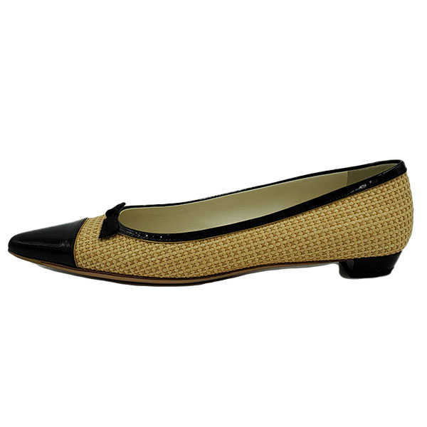 On sale pre-owned Prada Pointed Toe Bow-tie Flats in black and nude.