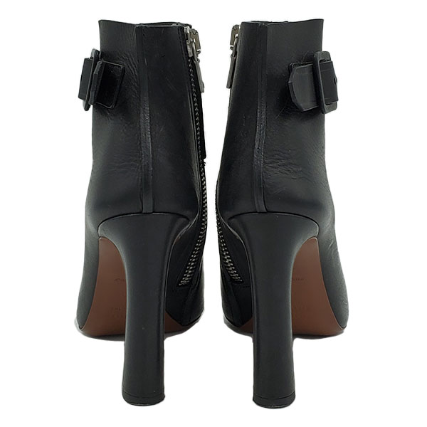 Back view of on sale pre-owned Proenza Schouler Open-toe Booties in black, with silver zipper.