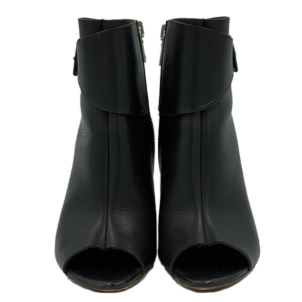On sale pre-owned Proenza Schouler Open-toe Booties in black, with silver zipper.