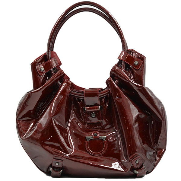 Back view of pre-owned Salvatore Ferragamo Patent Leather Hobo Bag in crimson, with gunmetal hardware.