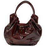 Pre-owned Salvatore Ferragamo Patent Leather Hobo Bag in crimson, with gunmetal hardware.