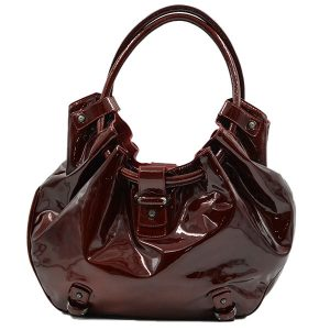 Pre-owned Salvatore Ferragamo Patent Leather Hobo Bag in crimson, with gunmetal hardware.