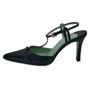 On sale pre-owned Sigerson Morrison Strappy Pointed-Toe Heels in black, with silver-tone buckle.